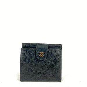 Chanel Black Quilted Caviar Compact Square Wallet